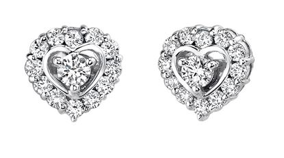 14Kt White Gold Diamond Earrings with Heart Shaped Halo