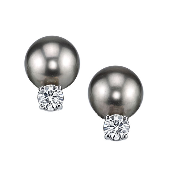 14Kt White Gold Classic 10mm Black Tahitian Pearl and Diamond Stud Earrings