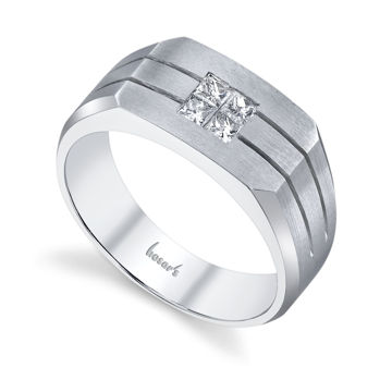 14Kt White Gold Men's Solitaire Diamond Wedding Ring with Grooves
