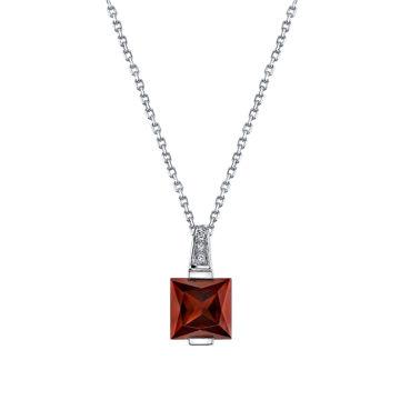 14Kt White Gold Channel Set Princess Cut Pyrope Garnet and Diamond Pendant