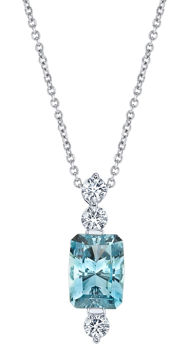 14Kt White Gold Emerald Cut Aquamarine and Diamond Line Pendant