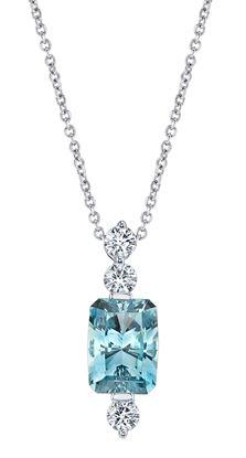 14Kt White Gold Emerald Cut Aquamarine and Diamond Line Pendant