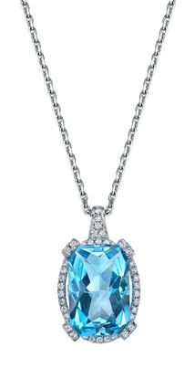 14Kt White Gold Contemporary Diamond Halo Style Cushion Cut Blue Topaz Pendant
