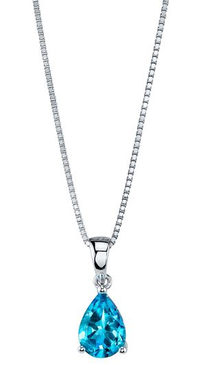 WHITE GOLD FINISHED YELLOW TOPAZ AND CREATED DIAMOND PEAR CUT PENDANT NECKLACE