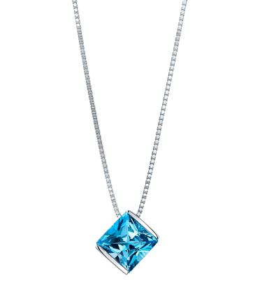 14Kt White Gold Contemporary Style Princess Cut Blue Topaz Solitiare Pendant