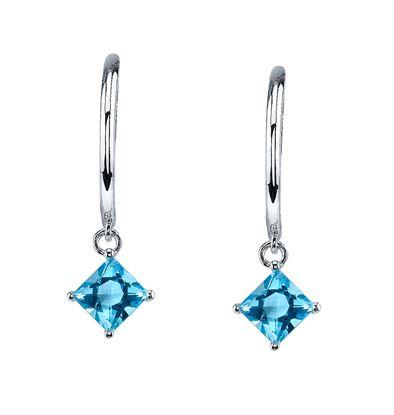 14Kt White Gold Contemprary Style Princess Cut Blue Topaz Drop Hoop Earrings