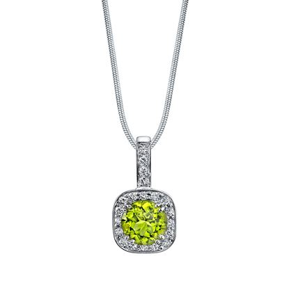 14Kt White Gold Classic Cushion Shape Halo Style Round Peridot and Diamond Pendant
