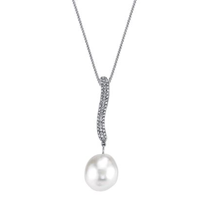 14Kt White Gold Modern 13mm South Sea Pearl and Pave Diamond Pendant