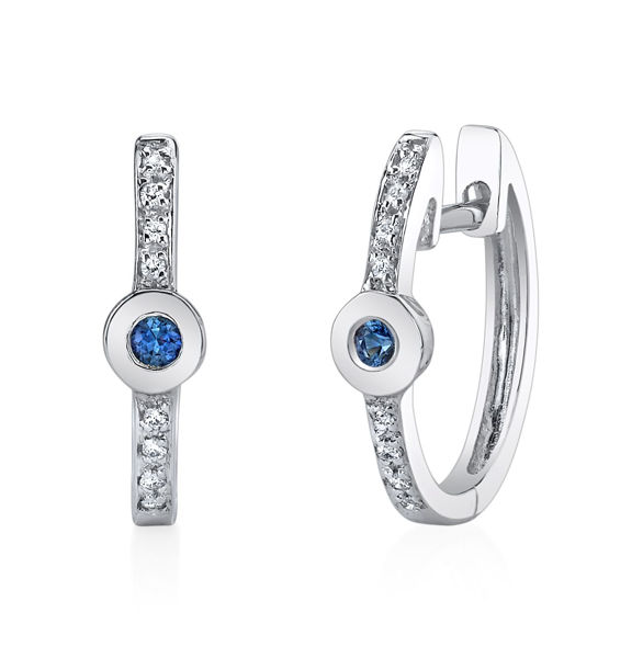 14Kt. White Gold Hoop Style Sapphire and Diamond Earrings