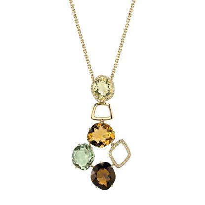 14Kt Yellow Gold Unique Geometric Style Quartz and Diamond Pendant