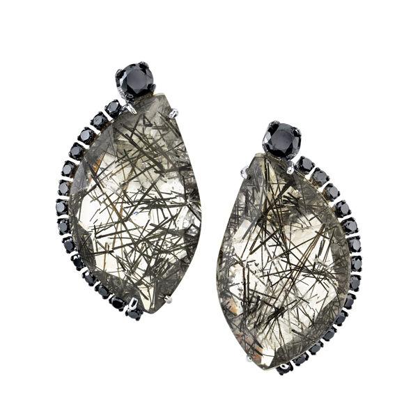 14Kt White Gold Distinctive Half Moon Shaped Rutilated Quartz and Black Diamond Earrings