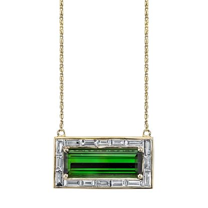 14Kt Yellow Gold Vintage Green Tourmaline and Diamond Necklace