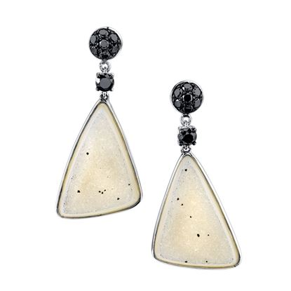14Kt White Gold Bold Triangular Drop Style Druzy and Black Diamond Earrings