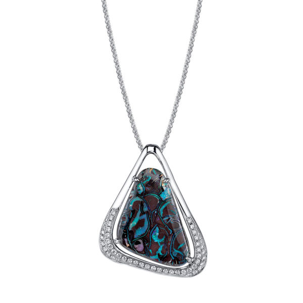 14Kt White Gold Exotic Boulder Opal and Diamond Pendant