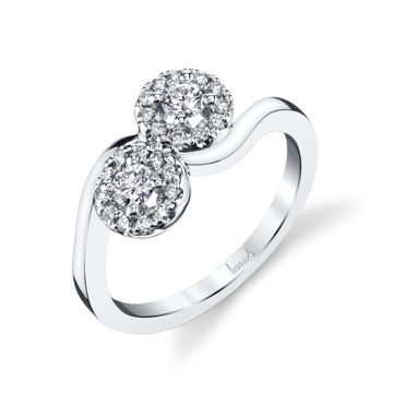 14Kt White Gold Two-Stone Diamond Ring with Halo
