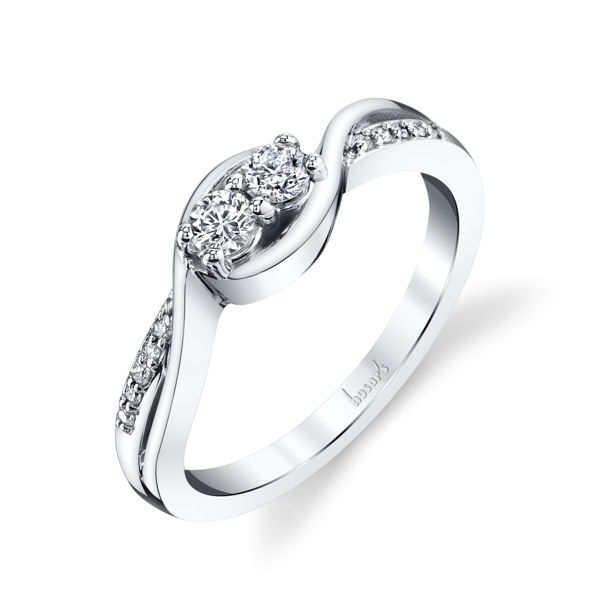 14Kt White Gold Two-Stone Style Diamond Ring with Bypass