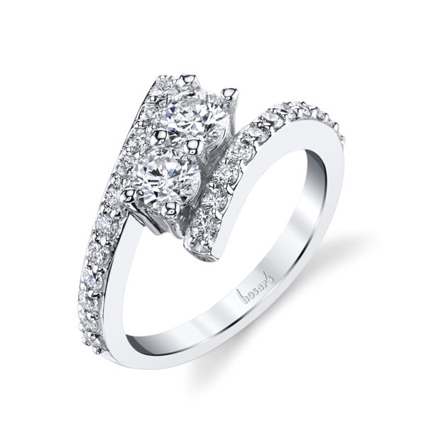 14Kt White Gold Modern Two-Stone Diamond Ring