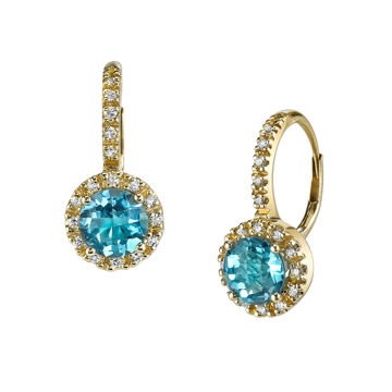 14Kt Yellow Gold Classic Halo Style Blue Topaz and Diamond Drop Earrings