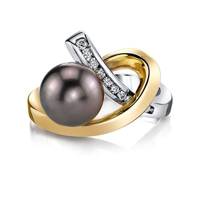 14Kt White and Yellow Gold Contemporary Freeform Style 9mm Black Tahitian Pearl and Diamond Ring