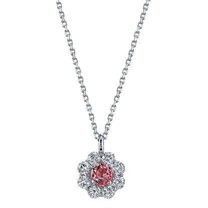 14Kt. White Gold Unique Flower Halo Style Pink Tourmaline and Diamond Pendant