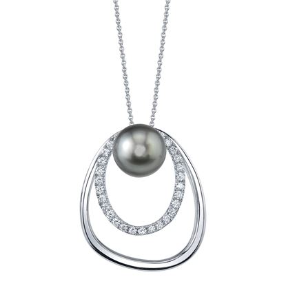 14Kt White Gold Modern Style 10mm Black Tahitian Pearl and Double Oval Diamond Pendant