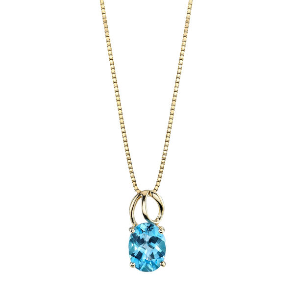 14Kt Yellow Gold Circle Swirl Design with Oval Blue Topaz Solitaire Pendant