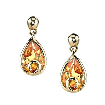 14Kt Yellow Gold Swirl Accent Pear Shaped Citrine Drop Earrings