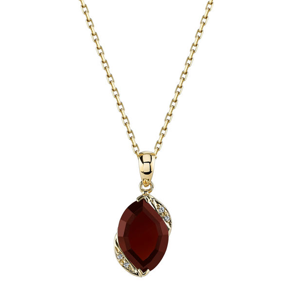 14Kt Yellow Gold Elegant Channel Set Pyrope Garnet and Diamond Pendant
