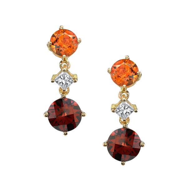 14Kt Yellow Gold Citrine, Diamond and Pyrope Garnet Drop Earrings