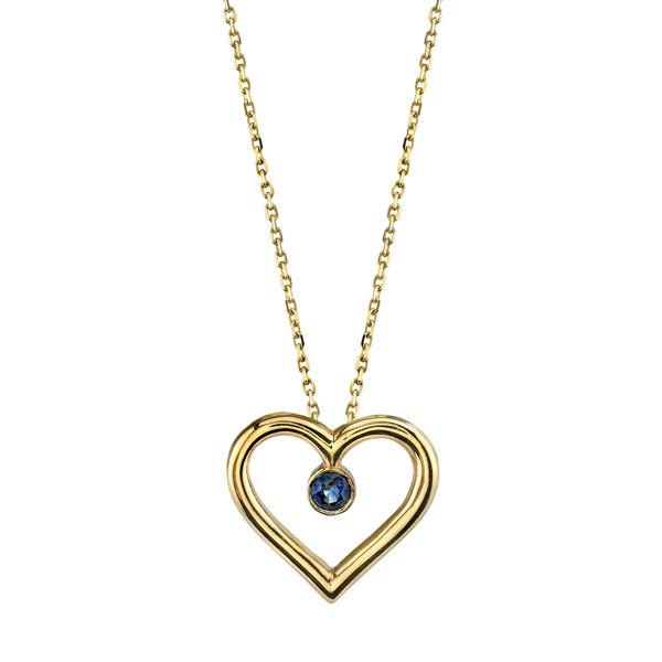 14Kt. Yellow Gold Open Heart Design Sapphire Pendant