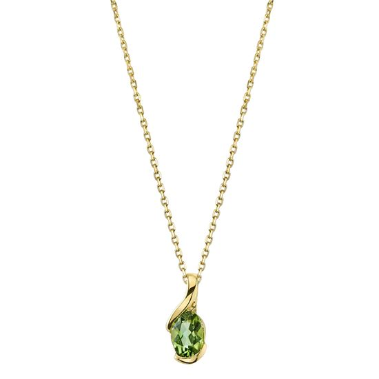 14Kt Yellow Gold Classic Oval Peridot Solitaire Pendant