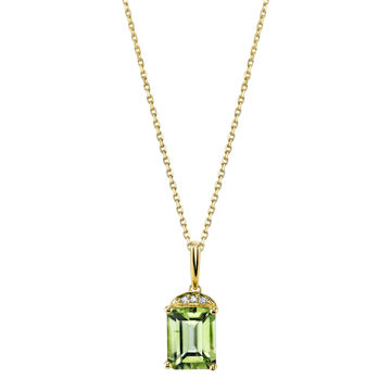 14Kt Yellow Gold Classic Style Emerald Cut Peridot with Diamond Accent Pendant