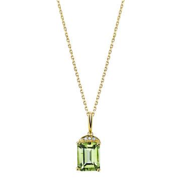 14Kt Yellow Gold Classic Style Emerald Cut Peridot with Diamond Accent Pendant