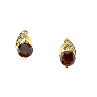 14Kt Yellow Gold Pyrope Garnet and Diamond Earrings