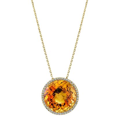 14Kt Yellow Gold Halo Style Bold Round Citrine Pendant