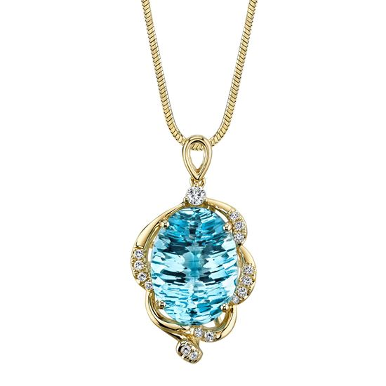 14Kt Yellow Gold Distinctive Oval Blue Topaz and Swirl Diamond Accent Pendant
