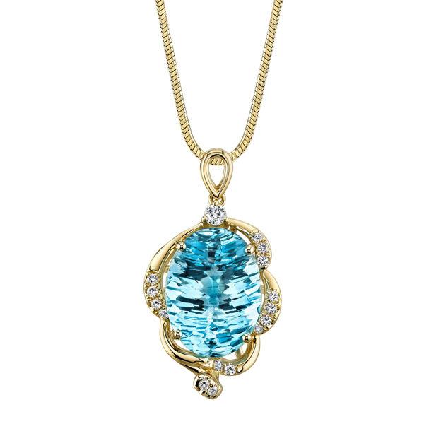 14Kt Yellow Gold Distinctive Oval Blue Topaz and Swirl Diamond Accent Pendant
