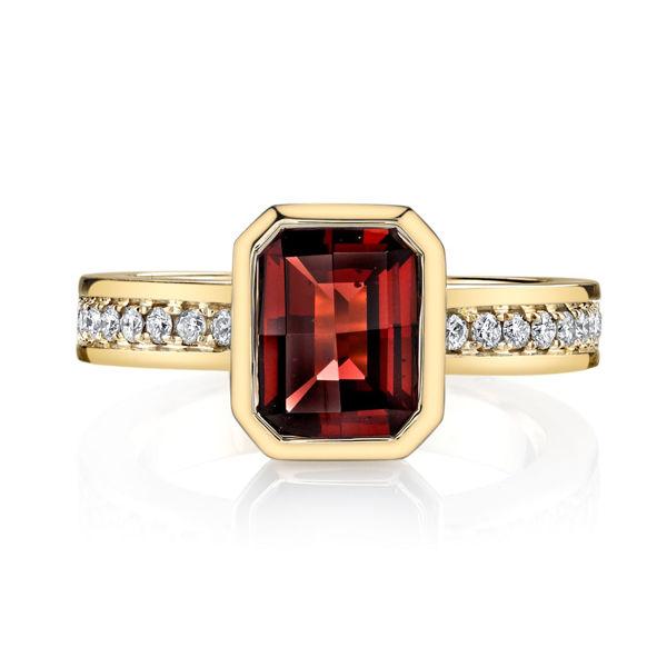 14Kt Yellow Gold Updated Bezel Set Emerald Cut Pyrope Garnet and Diamond Ring