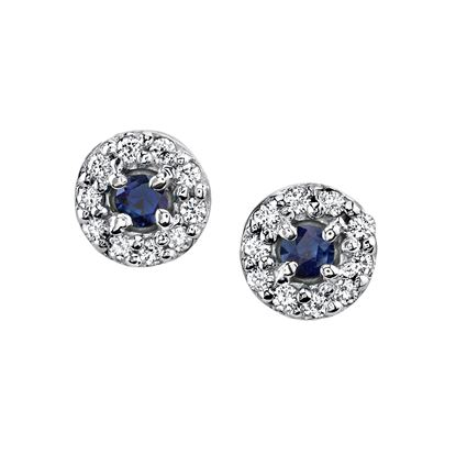 14Kt. White Gold Classic Halo Style Sapphire and Diamond Earrings