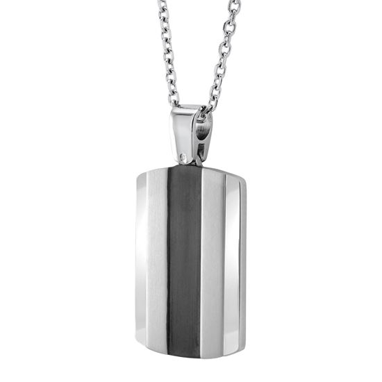 Italgem Black Stainless Ion Plated Dog Tag Pendant with Box Chain