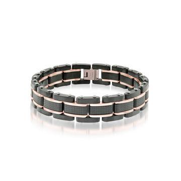 Italgem Men's Black and Rose Stainless Ion Plated Bracelet