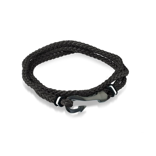 Italgem Men's Cord Bracelet with Black Ion Plated Stainless Hook Clasp