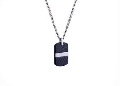 Italgem Black and White Stainless Ion Plated Dog Tag with Box Chain