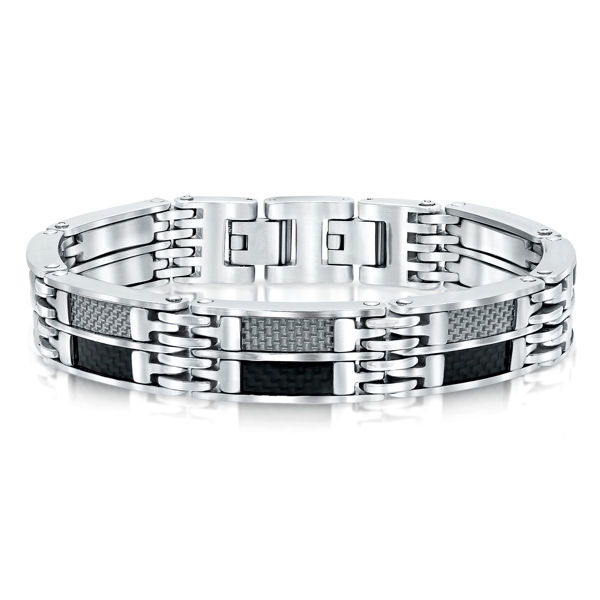 Italgem Men's Stainless Ion Plated Bracelet with Carbon Fiber Accents