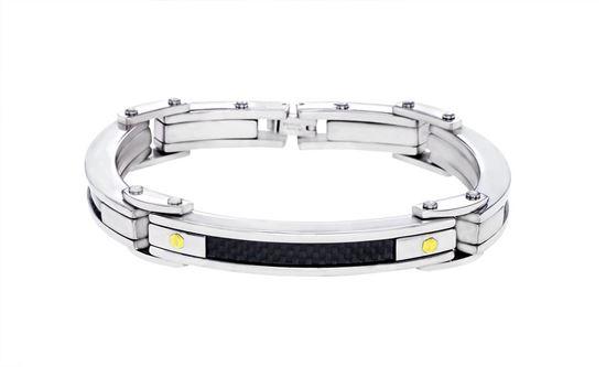 Italgem Men's Stainless Steel Bracelet with Black Carbon Fiber