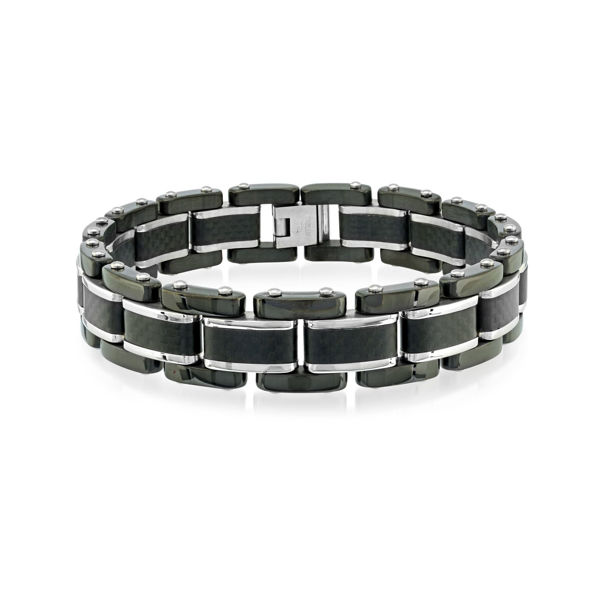 Italgem Men's Stainless Ion Plated Bracelet with Black Carbon Fiber