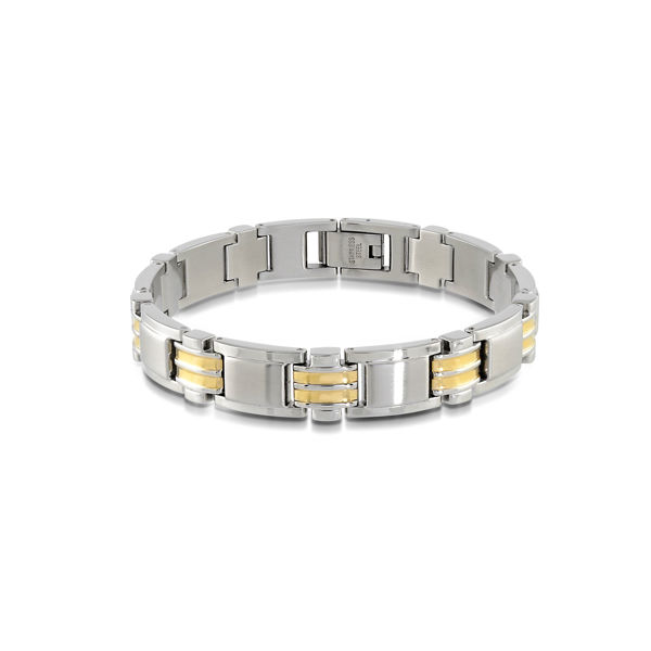 Italgem Men's Stainless Ion Plated Bracelet with Yellow Accents