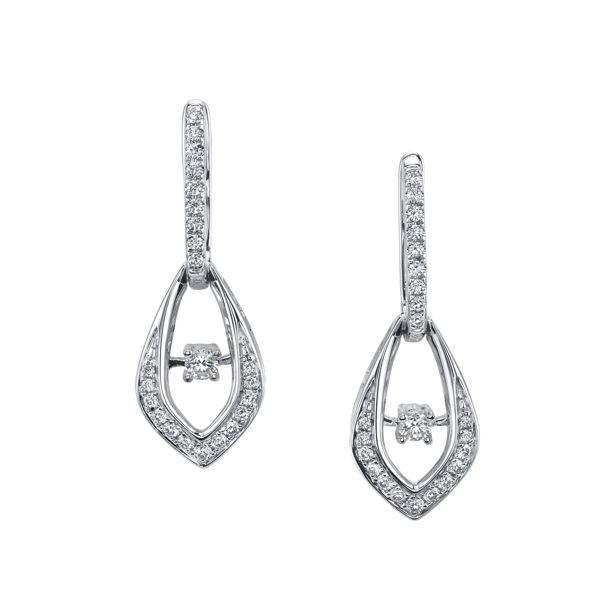 14Kt White Gold Tear Drop Dangling Dancing Diamond Earrings