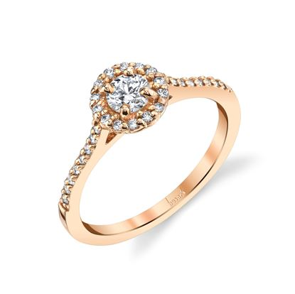 14Kt Rose Gold Halo Diamond Engagement Ring