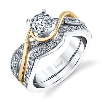 14Kt White and Yellow Gold Twisted Diamond Engagement Ring